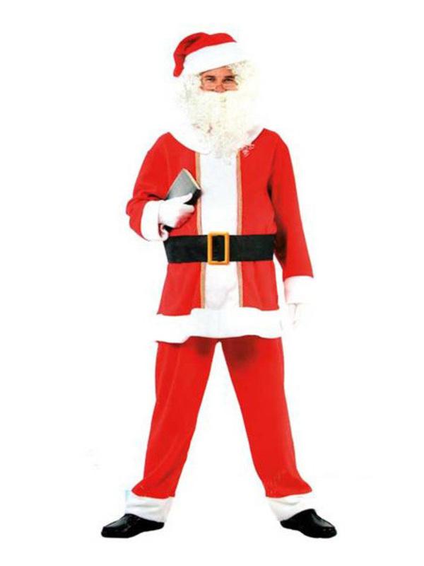 Kerstmankostuum totaalpakket met baardstel en handschoenen in